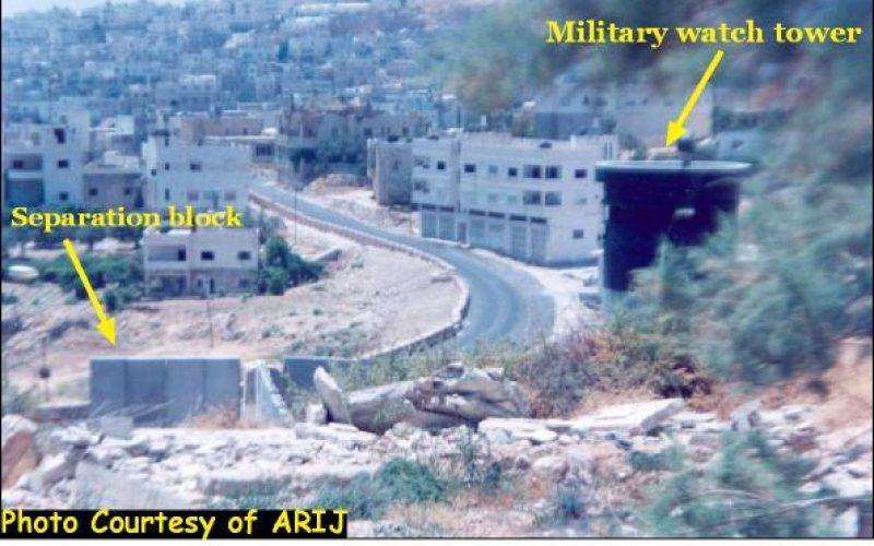 A concrete arrow in the heart of Hebron city.