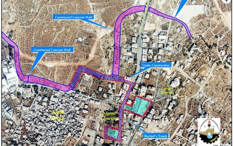 Israel resumes Wall constructions at Bethlehem Northern Entrance.