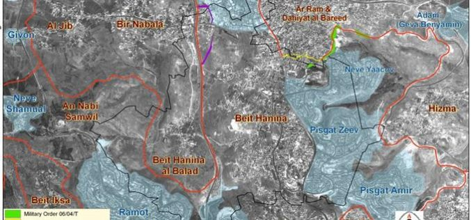 Lands of Beit Hanina (Al-Balad) village threatened by the Israeli Segregation Wall