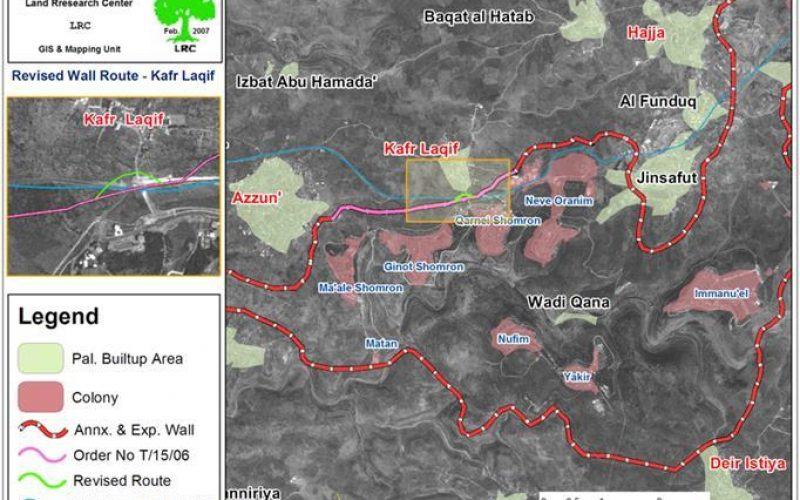 Israeli revised Wall path cuts linkage between Kafr Laqif,  Azzun Ashamalia villages and Nablus city