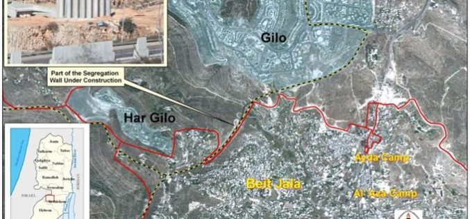 Israeli commences the construction of the Segregation Wall north of Beit Jala City