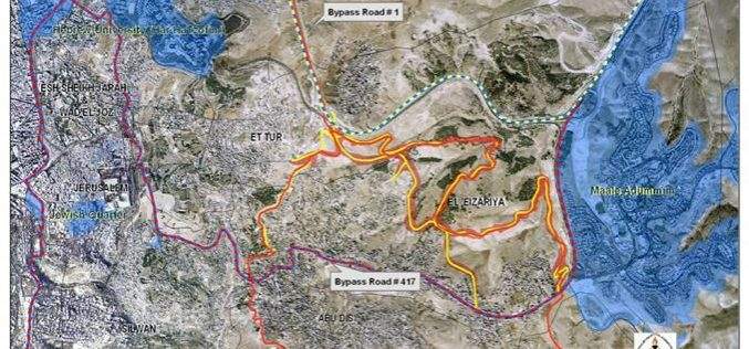 An Israeli Road Network to be constructed on lands of Al Ezariyeh and At-Tur communities