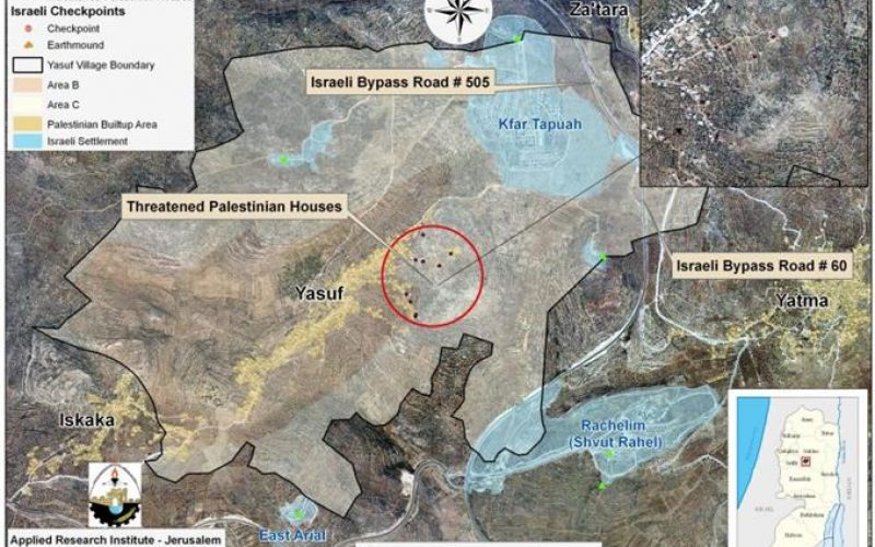 Israeli Military Notifications to halt Construction of Palestinian Houses in Yasuf Village