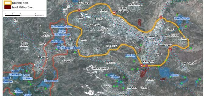 Tightening the siege on Nablus city and 15 other Palestinian villages surrounding it