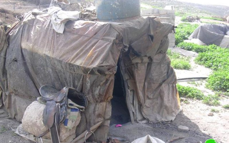 Israeli Occupation Forces Prevent Palestinian Building inKhirbet Al Tawil in Aqraba