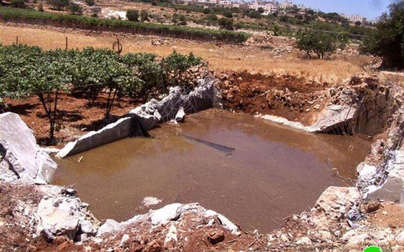 سلطات الاحتلال تجرف أراض زراعية وبركة مياه في منطقة البويرة