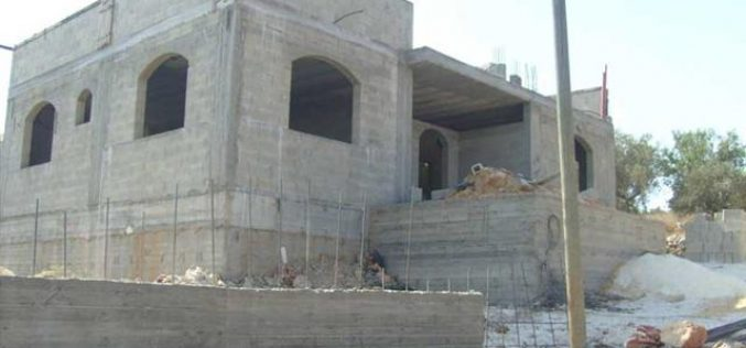 Israeli Occupation Authorities Issue Stop Work Orders against Palestinian Houses in the Village of Kafr Qalil