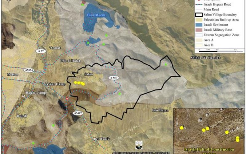 Israeli Halt-of-Construction Orders to 17 Palestinian houses in Salim Village