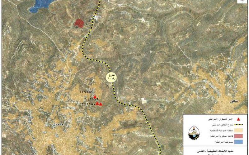 اوامر عسكرية اسرائيلية جديدة لوقف العمل و البناء في بلدة حلحول شمال مدينة الخليل