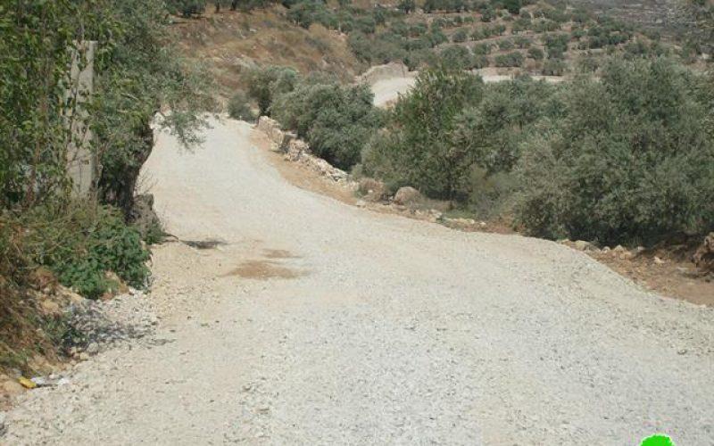 وقف العمل بشق طريق زراعي في  قرية كفر قدوم