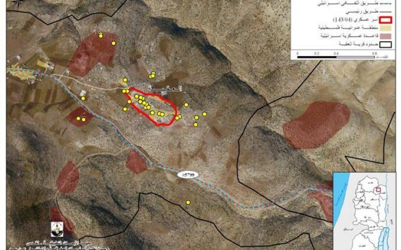 الاحتلال الاسرائيلي يخطر بهدم منشآت فلسطينية في قرية العقبة شرق طوباس
