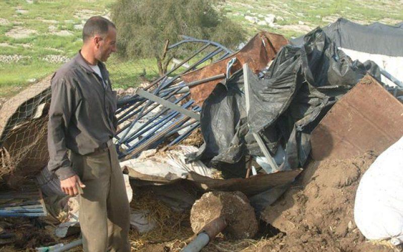 Israeli Occupation Demolish Palestinian Structures in Khirbet Samra -Tubas Governorate.