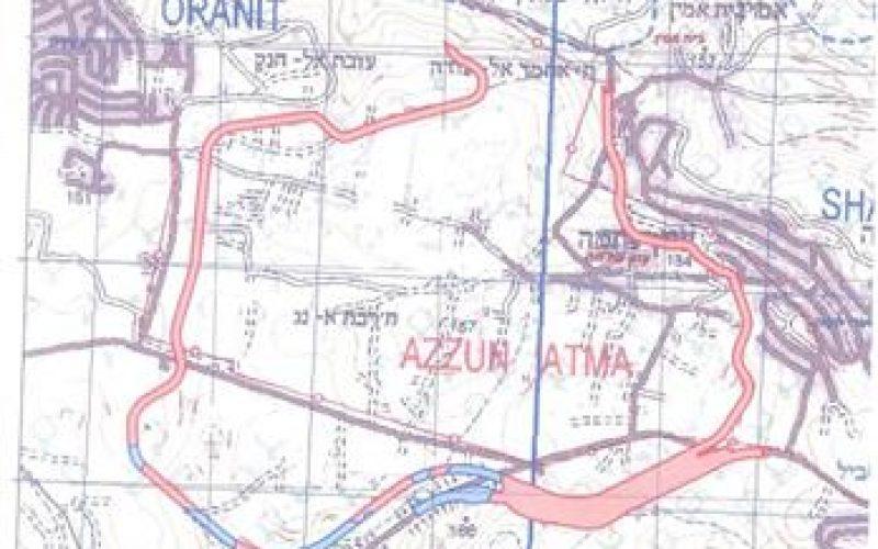 الاحتلال يكرر تهديده بمصادرة 381 دونماً من أراضي قريتي سنيريا والزاوية – محافظة قلقيلية