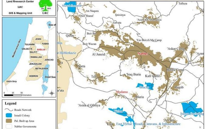 إضرام النيران في حقول القمح  قرية مادما – محافظة نابلس