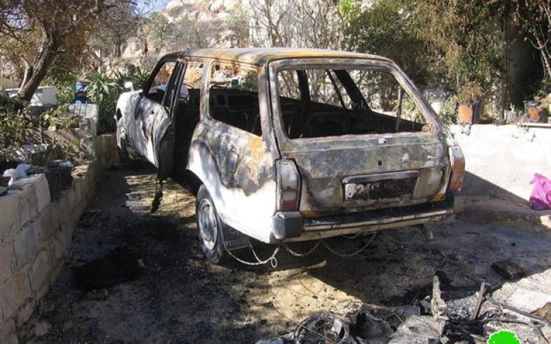 Israeli Colonists Torch a Car in Al Baq'a east of Hebron city
