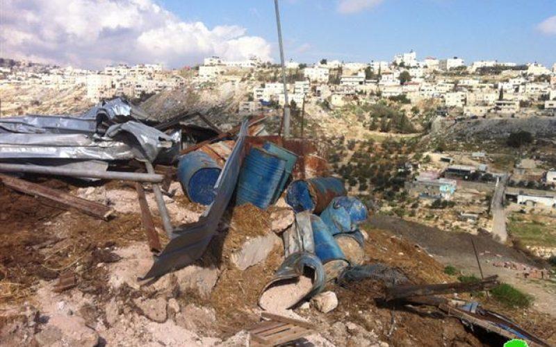 هدم وتجريف غرفه وقطعة أرض بلدة صور باهر- القدس