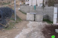 Blocking a road in Tal Rmeida – Hebron Governorate