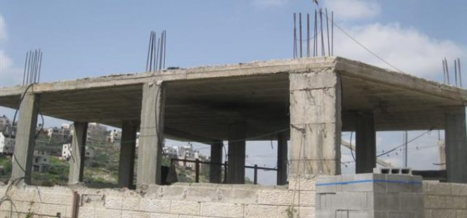 The Israeli Civil Adminstration targets a Palestinian house in Nahhalin village