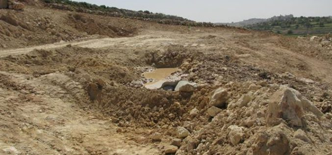 The Israeli Occupation Army Demolishes Two Cisterns in Halhul