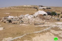 Demolishing a residential tent in Wadi Jhesh