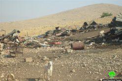 هدم عدداً من الخيام وحظائر الأغنام  في قرية فصايل الفلسطينية