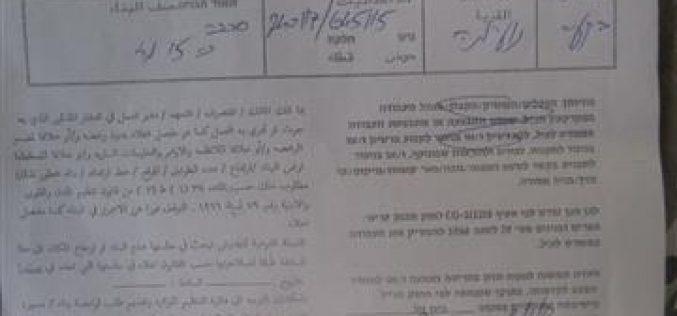 الاحتلال الإسرائيلي يخطر بوقف البناء لعدد من البيوت و حظائر الأغنام في منطقة النويعمة