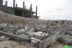 هدم منزل قيد الانشاء في قرية الخاص في بيت لحم