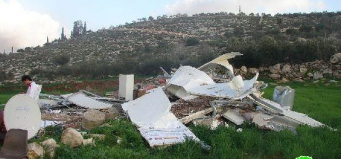The Israeli Occupation Army Demolish a Mobile Home in Idhna