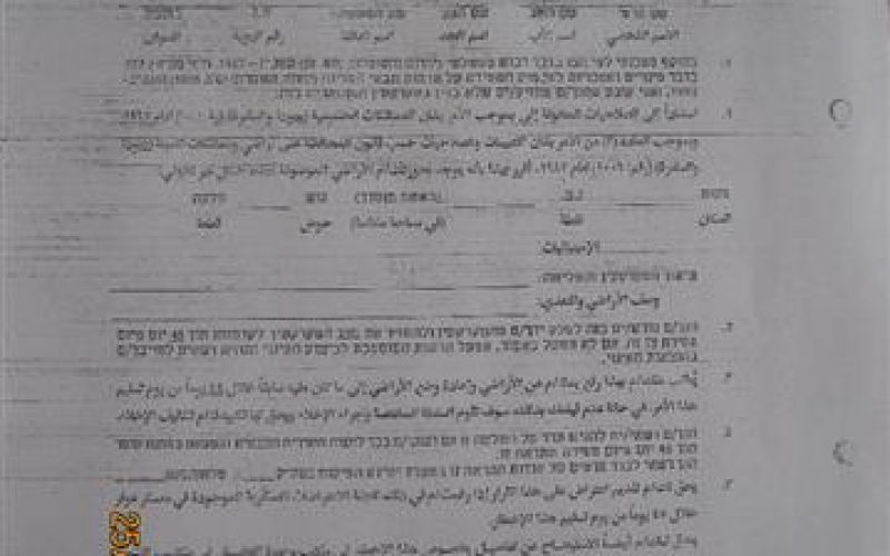 Military eviction orders for 10 dunums of agricultural land