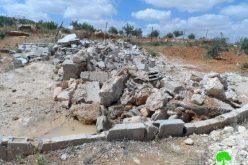 الاحتلال يهدم بئر مياه وغرفة زراعية في حوارة شرق يطا