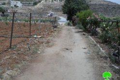 الاحتلال يخطر بتجريف طريق مؤدي لمنزل مواطن شرق الخليل