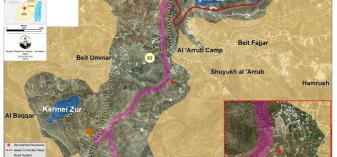 Demolition of Palestinian Structures in Al-'Arrub Refugee Camp north of Hebron Governorate