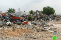 الاحتلال يهدم ورش صناعية في قرية برطعة الشرقية /محافظة جنين