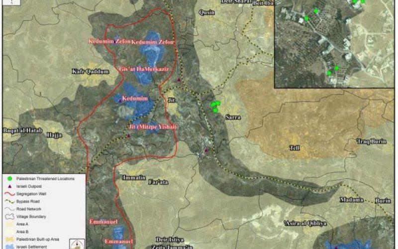 اوامر عسكرية اسرائيلية بوقف العمل والبناء لستة منازل فلسطينية في قرية صرة في محافظة نابلس