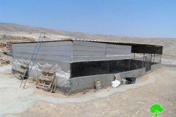إخطار بوقف العمل في خيمة سكن وبركس في المركز بمسافر يطا