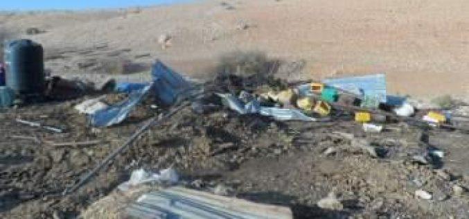 هدم 3 منشآت سكنية وزراعية في قرية الجفتلك  / محافظة أريحا