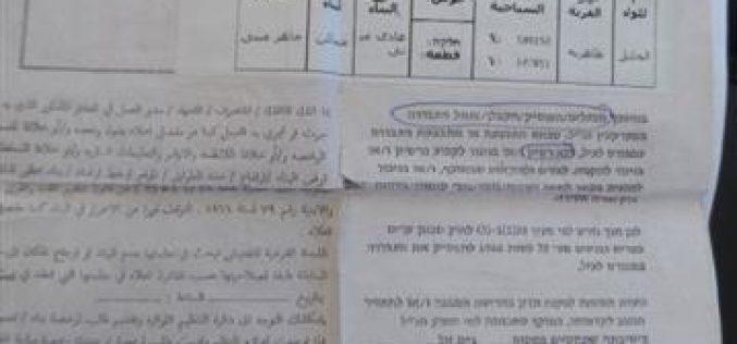 """إخطارات بوقف العمل والبناء في موقع """"الدير """" شرق الظاهرية / محافظة الخليل"""