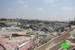 هدم عدداً من المنشآت التجارية في قرية برطعة الشرقية / محافظة جنين