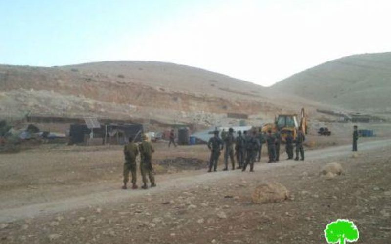 The Israeli occupation defaces Makhoul and demolishes its structures