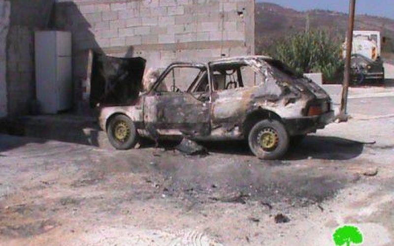 إحراق مركبة فلسطينية خاصة في قرية بورين /محافظة نابلس