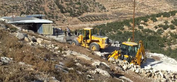 The occupation demolishes a residence and two barracks in Idhna