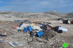 هدم عدد من الخيام وحظائر المواشي لعرب الجهالين في منطقة عين  أيوب /محافظة رام الله