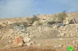 هدم منزل و جرف أربعة حظائر في قرية فصايل الوسطى/ محافظة أريحا