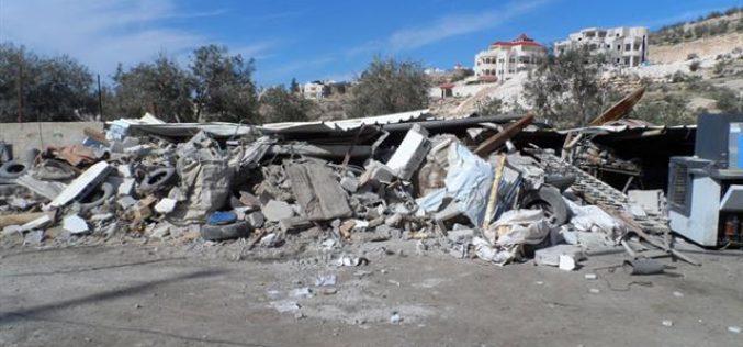 Demolition of a barrack In Deir Samit, Hebron governorate