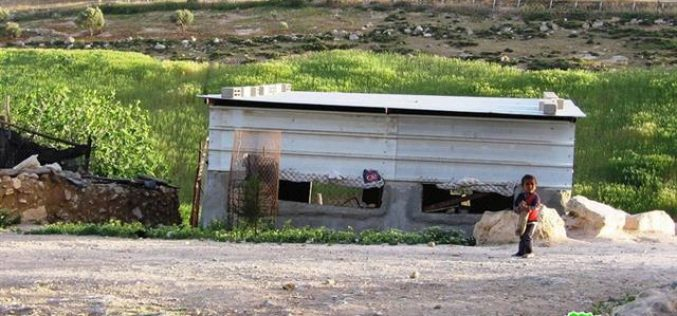 A structure ordered with demolition in Khirbet Um- Sidra- Hebron governorate