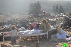 The occupation destroys a number of barns in al-Jeftlik village