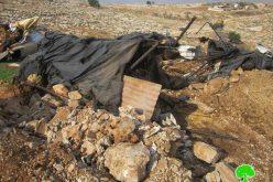 الاحتلال الاسرائيلي يهدم حظيرتين للماشية في منطقة المعرجات