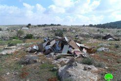 هدم 7 غرف زراعية بقرية التواني شرق يطا