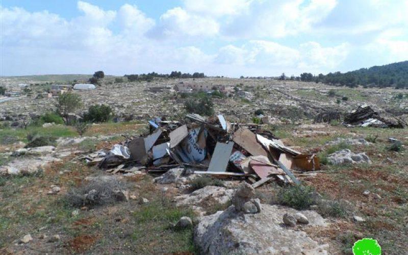 Demolition of an Agricultural Room Al-Tawani village, in Yatta