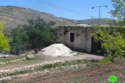 Water harvesting pool notified and trees cut off in al-Lubban ash-Sharqiya – Nablus governorate